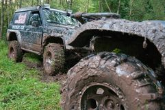 Off-road vehicles after the race. Stock Photo