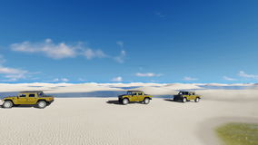 Off-road vehicles ride in Brazil desert. Off-road vehicles SUV traveling among unique white sand dunes and water lagoons in Lencois Maranhenses National Park in stock video