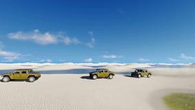 Off-road vehicles ride in Brazil desert stock video