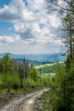 Off road way in Carpathian Mountains. Off road way in Ukrainian Carpathian Mountains. Natural landscape in cloudy spring day royalty free stock photography
