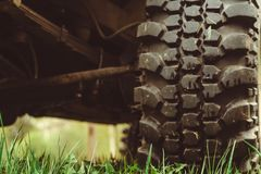 Off-road wheel in mud stock photography