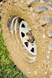 Off road wheel and tire full of mud Royalty Free Stock Photography
