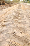 Off road 4X4 wheel tracks on country desert beach road sand moto. Ring Stock Images