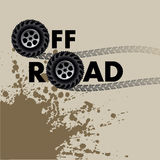 Off road. Wheels and tire tracks isolated on white. Vector illustration Stock Photo