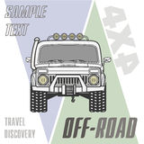 Off road 4x4 car truck equipment line draw icon set Stock Photo