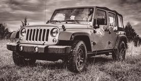 Off-roading in a Jeep Unlimited stock photography