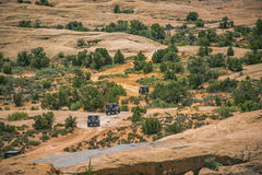 Off roading in Moab Utah with 4 vehicles stock photography