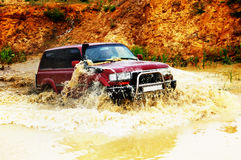 Off roading thrill. 4х4 Off roading thrill in water stock images