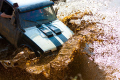 Off roading thrill. 4x4 Off roading thrill in the mud royalty free stock image