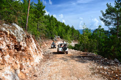 Off-roads car in the mountains Royalty Free Stock Images