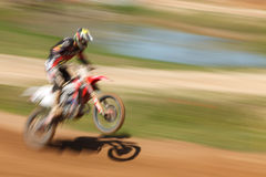 Off-rod motorbike riding fun. Speed blurred motion Stock Photography