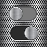 On and Off round slider buttons. Metal switch interface buttons on perforated background Stock Images