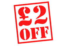 £2 OFF Rubber Stamp stock photo