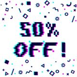 50 off sale banner. Vector 50 percent off sale 8-bit pixel art style banner. Text with glitch effect and geometric decor elements. White background Stock Photo
