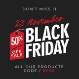 50% off sale black friday banner background with price tag symbol. online shop flyer promotion template design. vector illustratio. 50% off sale black friday Royalty Free Illustration