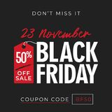 50% off sale black friday banner background with price tag symbol. online shop flyer promotion template design. vector illustratio. 50% off sale black friday Stock Illustration