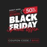 50% off sale black friday special offer banner background. online shop flyer promotion template design. vector illustration. 50% off sale black friday special stock illustration
