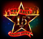 15% off, 15 sale discount hot sale with special offer. Created 15% off, 15 sale discount hot sale with special offer and fire effect- vector EPS10 stock illustration