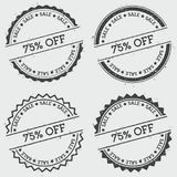 75% off sale insignia stamp isolated on white. 75% off sale insignia stamp isolated on white background. Grunge round hipster seal with text, ink texture and Stock Photo