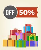Off 50 Sale Promo Label on Advertisement Poster. With heaps of present gift boxes in wrapping paper vector illustrations  on white background Stock Photo