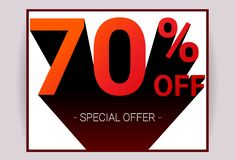 70% OFF Sale. Red color 3D text and black shadow on white background design. Discount special offer promo advertising card concept vector illustration royalty free illustration