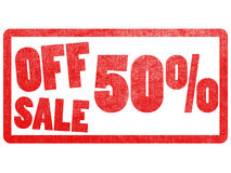 Off sale 50% text label stamp for super market. Royalty Free Stock Image