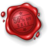 50% off sale wax seal stamp realistic Royalty Free Stock Photo