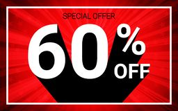 60% OFF Sale. White color 3D text and black shadow on red burst background design. Discount special offer promo advertising concept vector illustration vector illustration