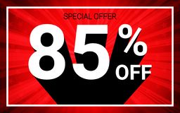 85% OFF Sale. White color 3D text and black shadow on red burst background design. Discount special offer promo advertising concept vector illustration stock illustration