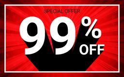 99% OFF Sale. White color 3D text and black shadow on red burst background design. Discount special offer promo advertising concept vector illustration vector illustration