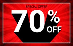 70% OFF Sale. White color 3D text and black shadow on red burst background design. Discount special offer promo advertising concept vector illustration stock illustration