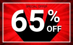 65% OFF Sale. White color 3D text and black shadow on red burst background design. Discount special offer promo advertising concept vector illustration stock illustration