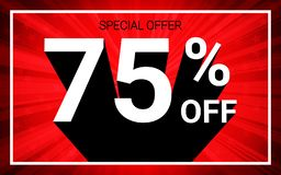 75% OFF Sale. White color 3D text and black shadow on red burst background design. Discount special offer promo advertising concept vector illustration vector illustration