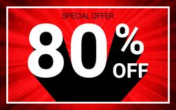 80% OFF Sale. White color 3D text and black shadow on red burst background design. Discount special offer promo advertising concept vector illustration vector illustration