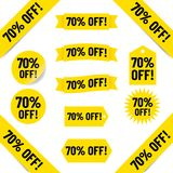 70% off sales tag graphics. 70% off sale tags illustrated in black text graphics on yellow Royalty Free Stock Photo