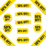 50% off sales tag illustration. Illustrated yellow tags with black text graphics 50% off on white Vector Illustration