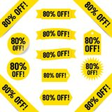 80% off sales tag illustration Stock Photos