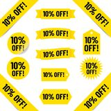 10% off sales tags. Selection of sales tags with text ' 10% OFF!' inscribed on a variety of tags including yellow circles and banners vector illustration