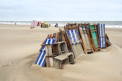 Off Season. Stacked beach chairs in a resort royalty free stock photos