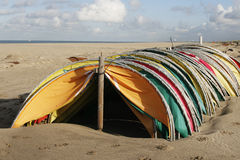 Off season wind shelters Royalty Free Stock Image