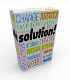 Off the Shelf Solution Product Box New Idea Answer. The word Solution on a product box to illustrate an off-the-shelf idea or innovation to solve your problem or Royalty Free Stock Image