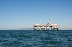 Off Shore Oil Rig. Oil platform off the shore of Southern California Royalty Free Stock Images