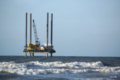 Off Shore Work Platform. Small work Platform in the North Sea Stock Photo