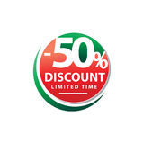 50% off sign. Bold fifty percent discount sign, isolated on white background royalty free illustration