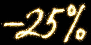 -25% off sign. Made of sparkler Stock Photo