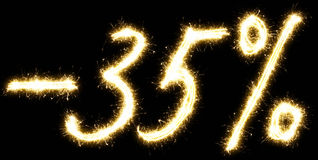 -35% off sign. Made of sparkler Royalty Free Stock Photography