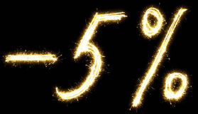 -5% off sign. Made of sparkler Royalty Free Stock Photos