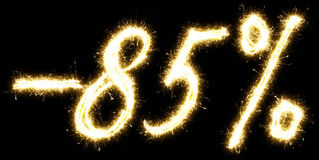 -85% off sign. Made of sparkler Stock Image