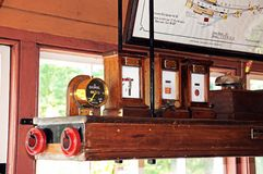 On off signal dial and equipment in signal box. Stock Images