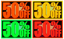 50% Off Signs - Fifty Percent Discount Royalty Free Stock Images